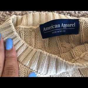 american apparel tan cable knit sweater